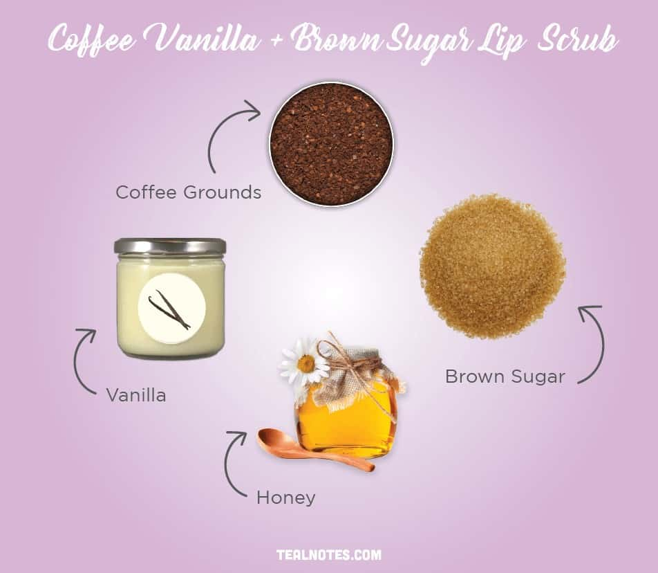 DIY Lip Scrub, Best DIY Homemade Lip Scrub, Coffee Vanilla and Brown Sugar Lip Scrub