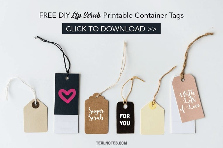 DIY Lip Scrub, Lip Scrub Container Tags, free printable lip scrub tags