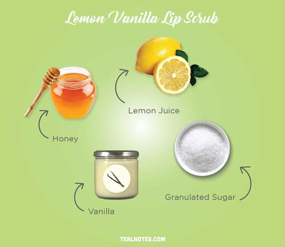 DIY Lip Scrub, Best DIY Homemade Lip Scrub, Lemon Vanilla Lip Scrub