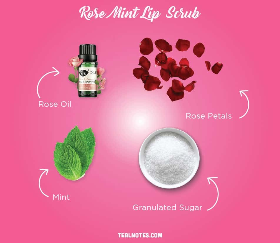 DIY Lip Scrub, Best DIY Homemade Lip Scrub, Rose Mint Lip Scrub