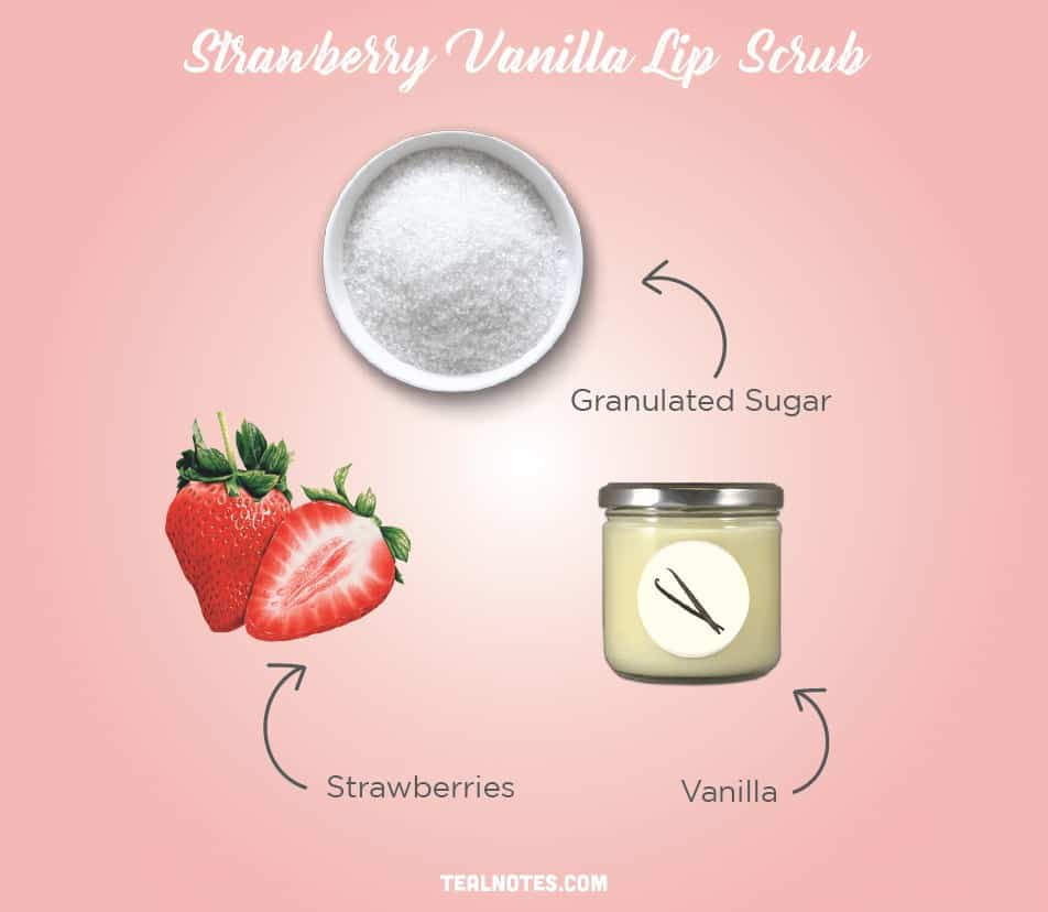 DIY Lip Scrub, Best DIY Homemade Lip Scrub, Strawberry Vanilla Lip Scrub