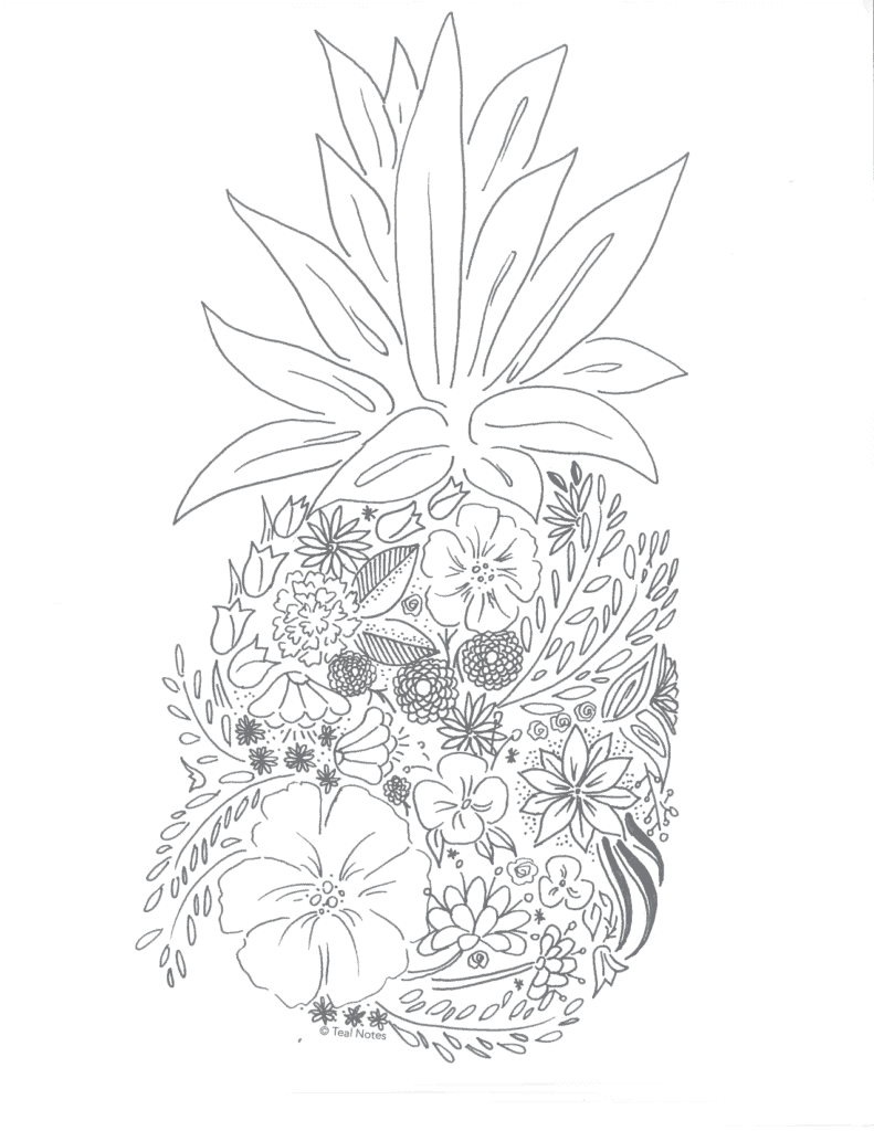 free printable coloring page, free pineapple coloring page