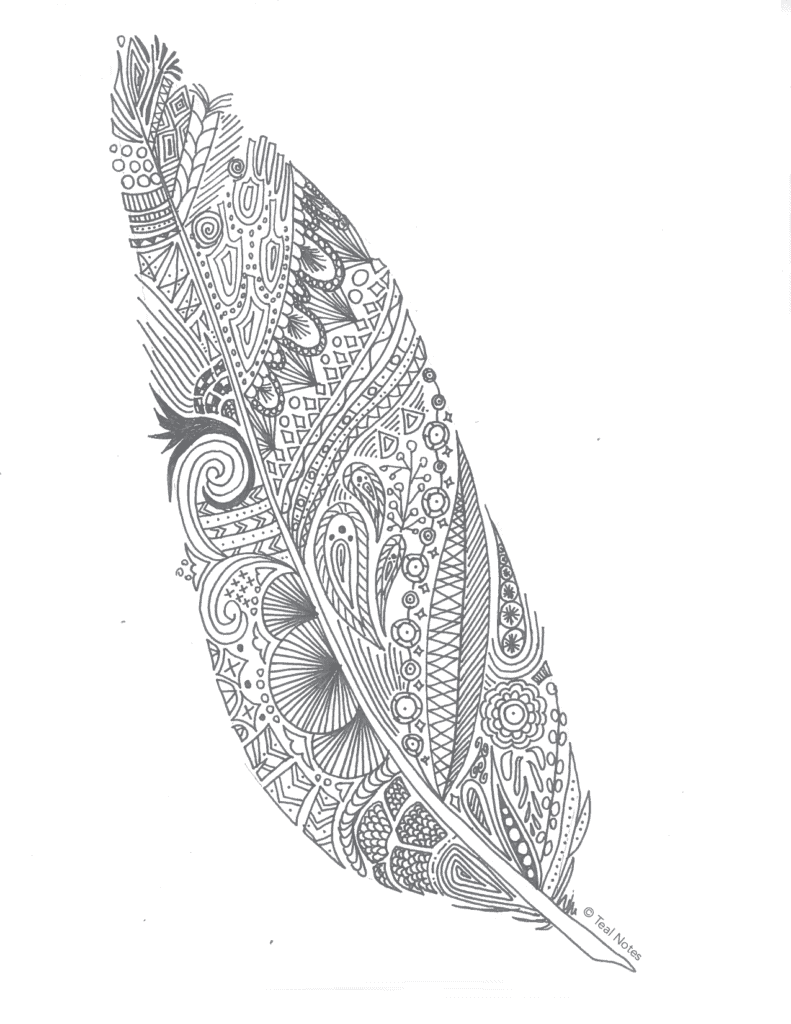 free coloring pages, printable feather coloring page