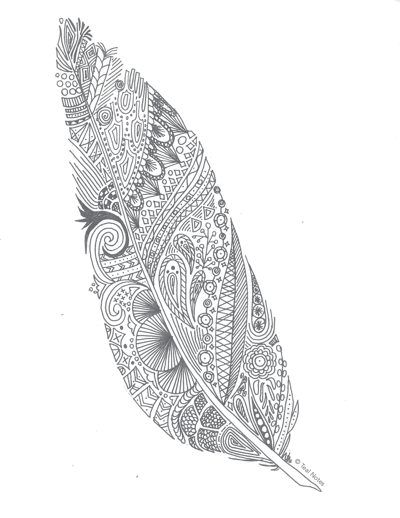free feathers coloring pages - photo#15