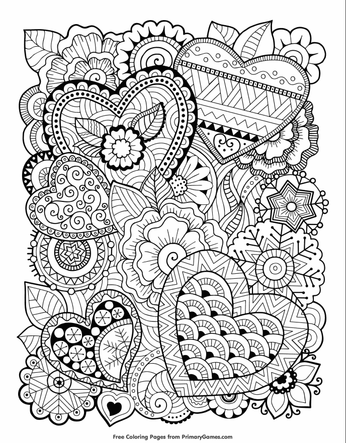 free coloring page with hearts and flowers for valentines day