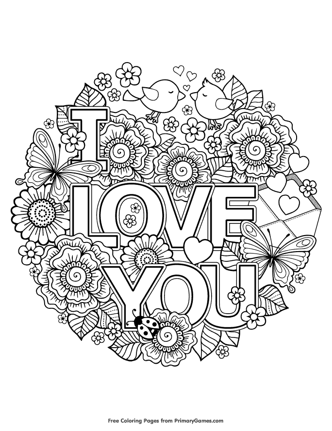 free coloring pages that says I love you