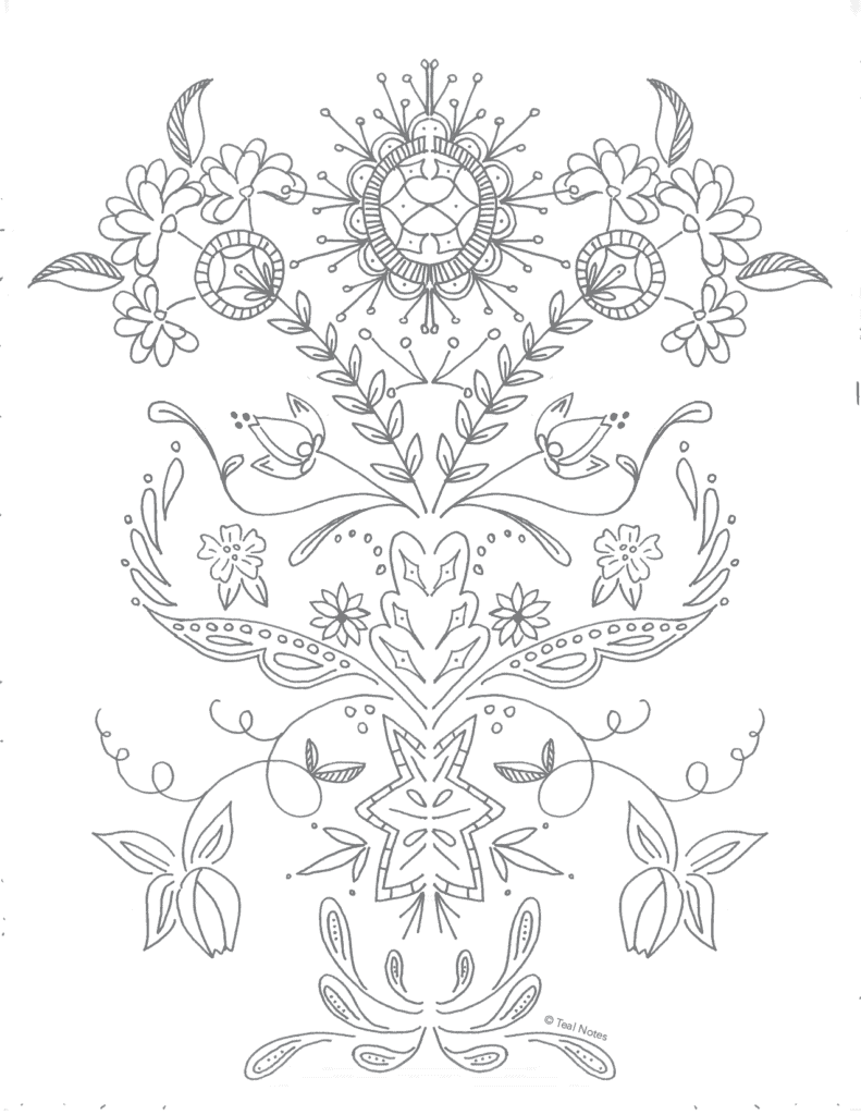 free floral coloring page, printable coloring pages