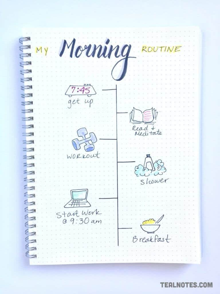 bullet journal set up, my morning routine