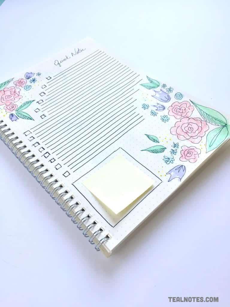 bullet journal set up, quick notes