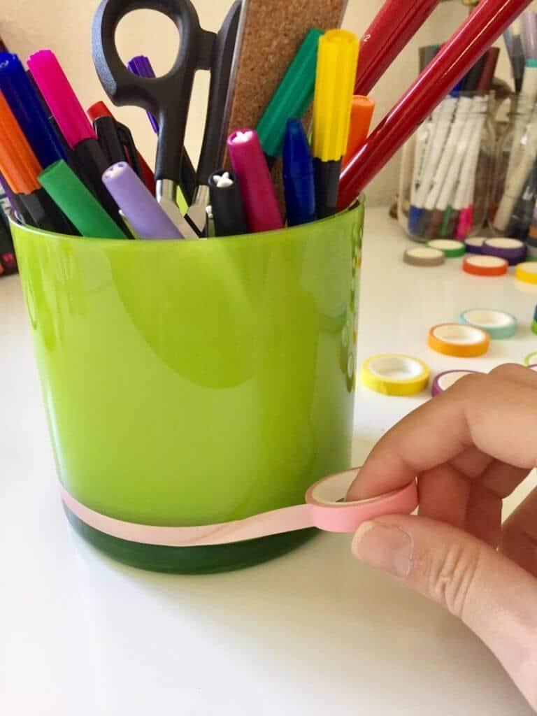 DIY washi tape ideas, pencil holder