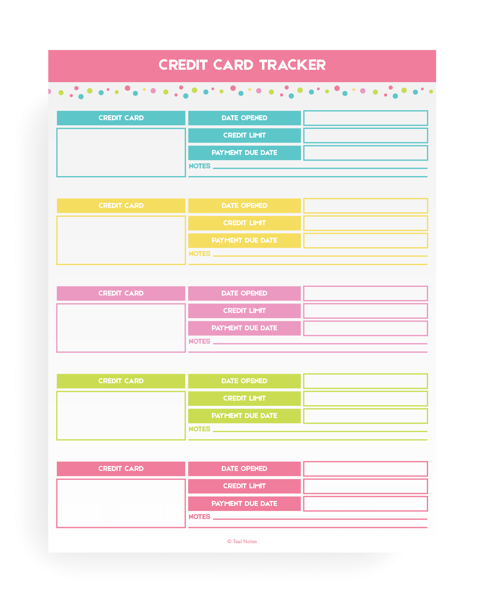 Credit Card Tracker Printable