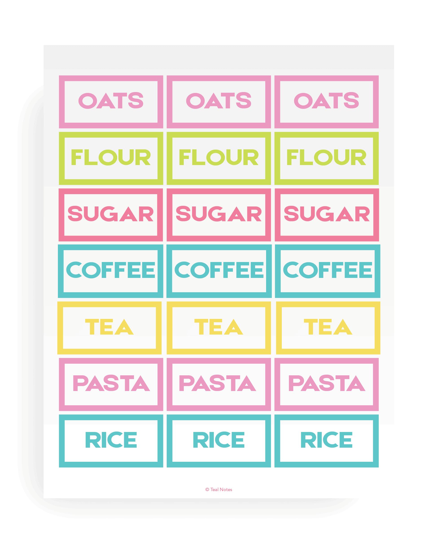 Printable Pantry Labels