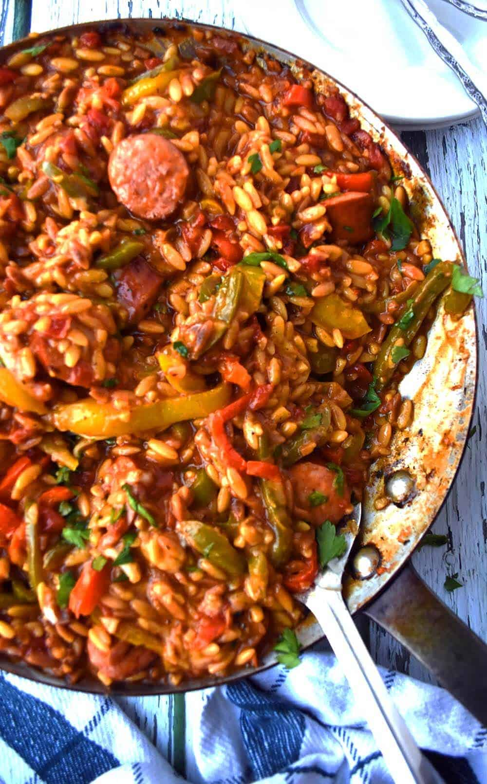 Cheesy Orzo With Sausage And Peppers smaller pin for post