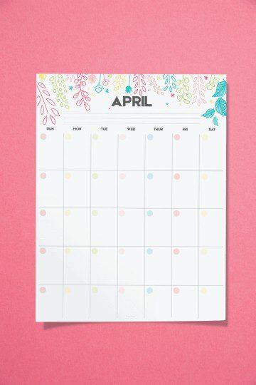 free printale calendar