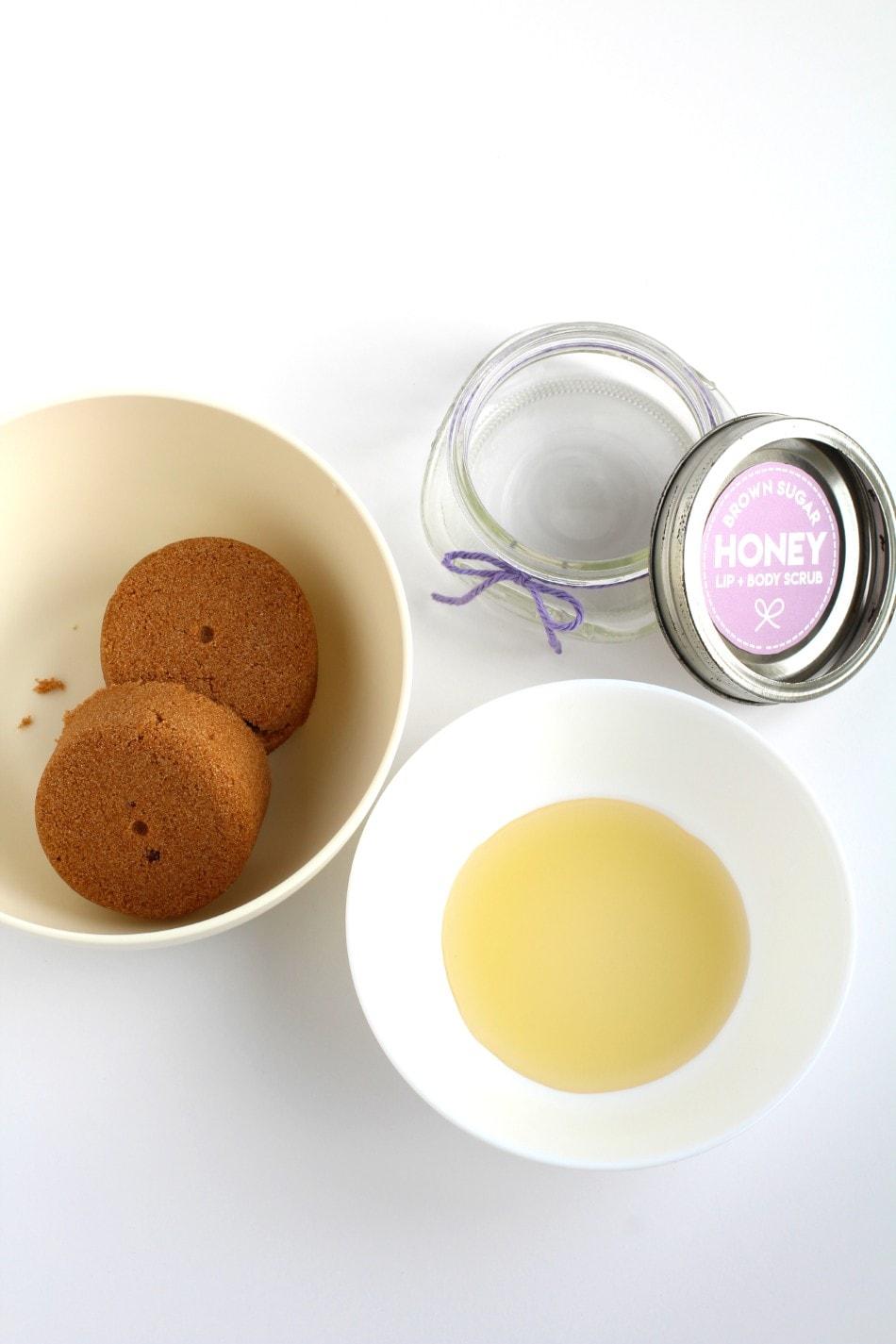 Brown sugar lip scrub materials and ingredients