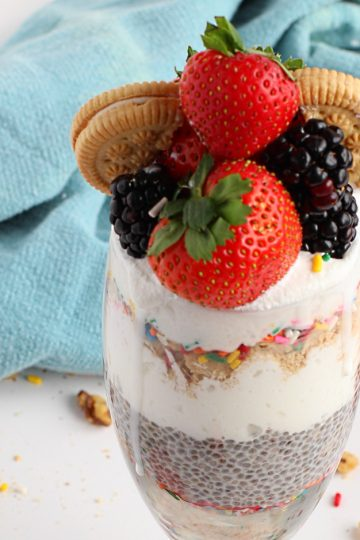 chia seed pudding birthday cake parfait