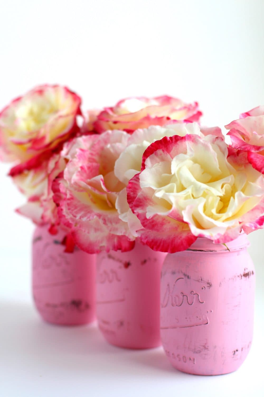 pink mason jars with chalk paint