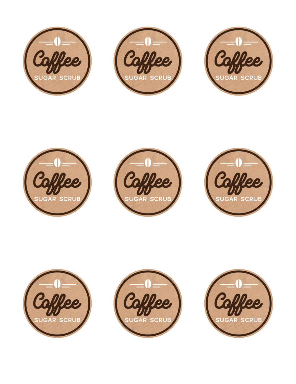 coffee sugar scrub printable labels