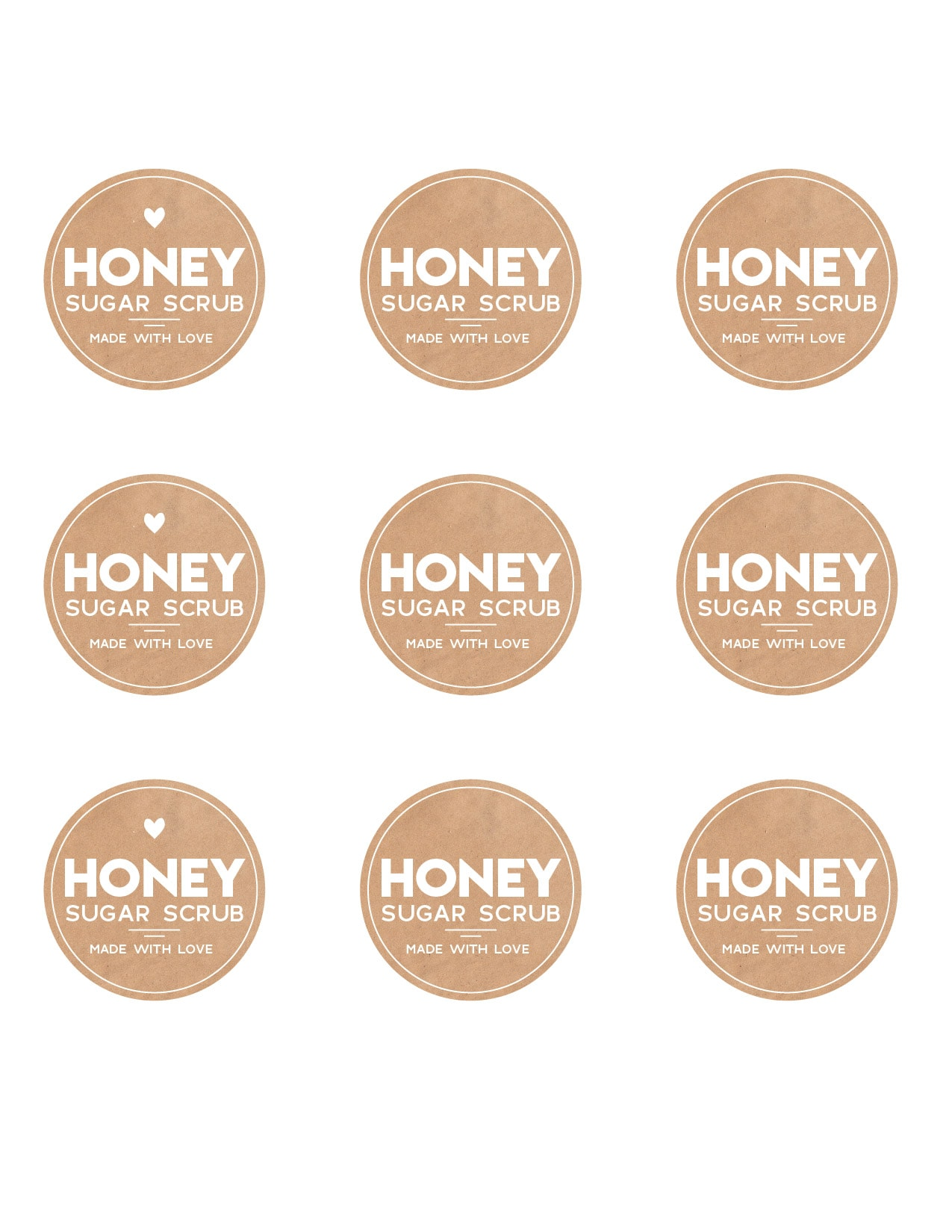 Honey sugar scrub free printable labels
