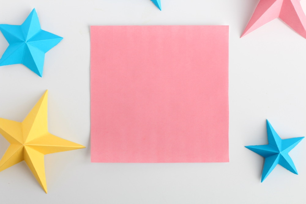 how to make 3D paper stars | step one: Get a square piece of paper