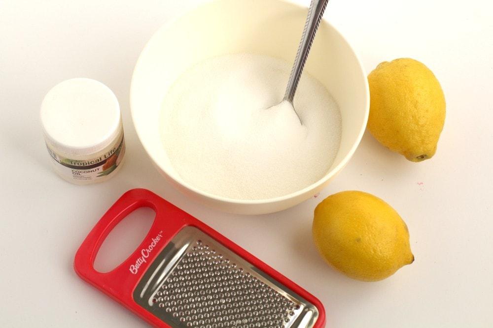 Homemade lemon sugar scrub recipe materials
