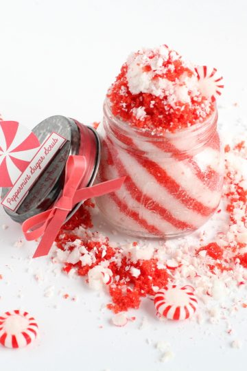 Peppermint sugar scrub recipe with free printable labels