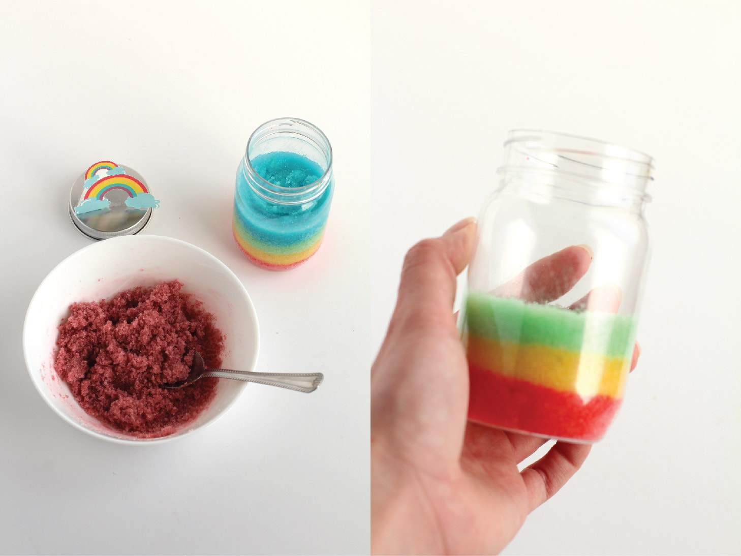rainbow sugar scrub steps
