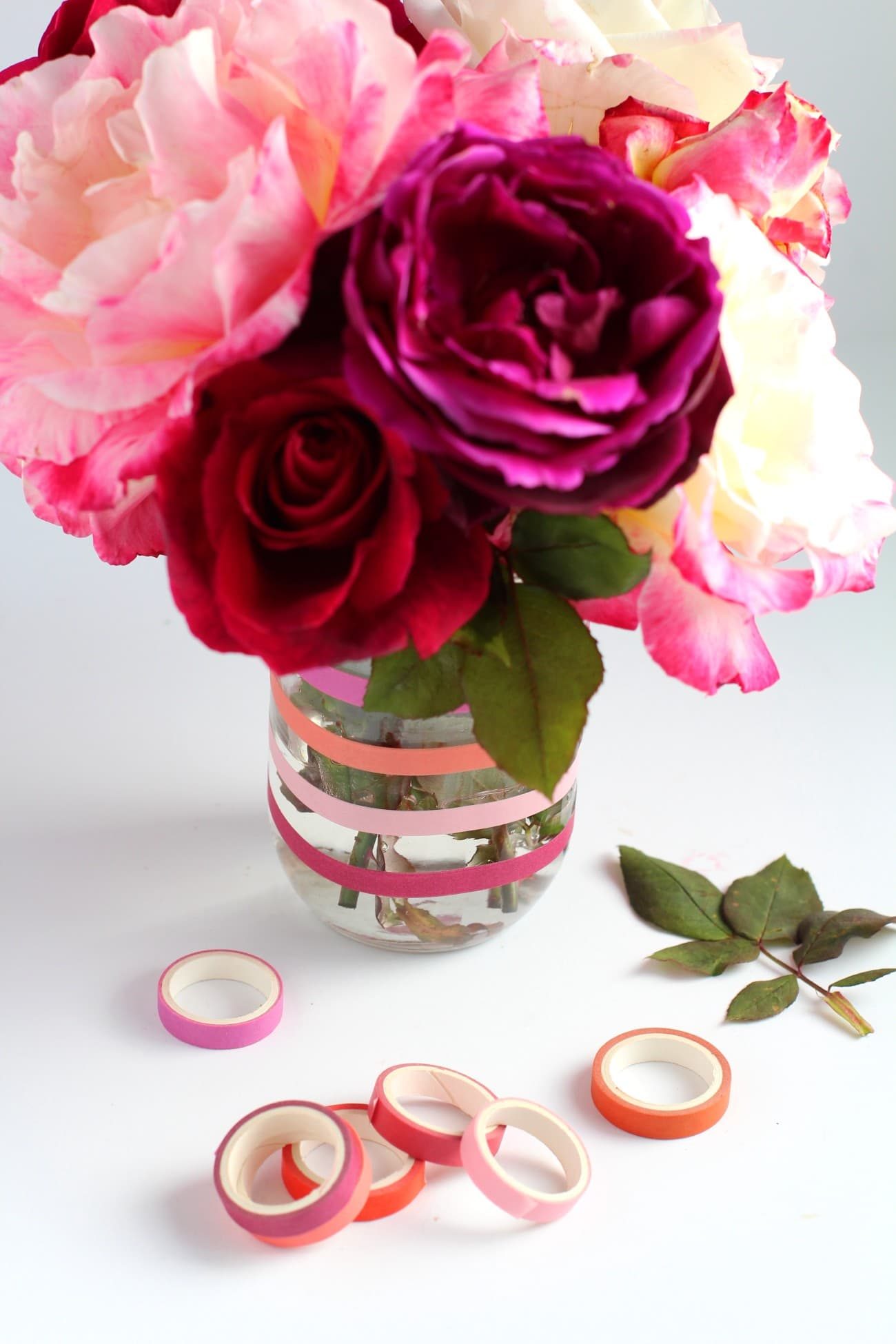 washi tape ideas with flowers and a decorated vase