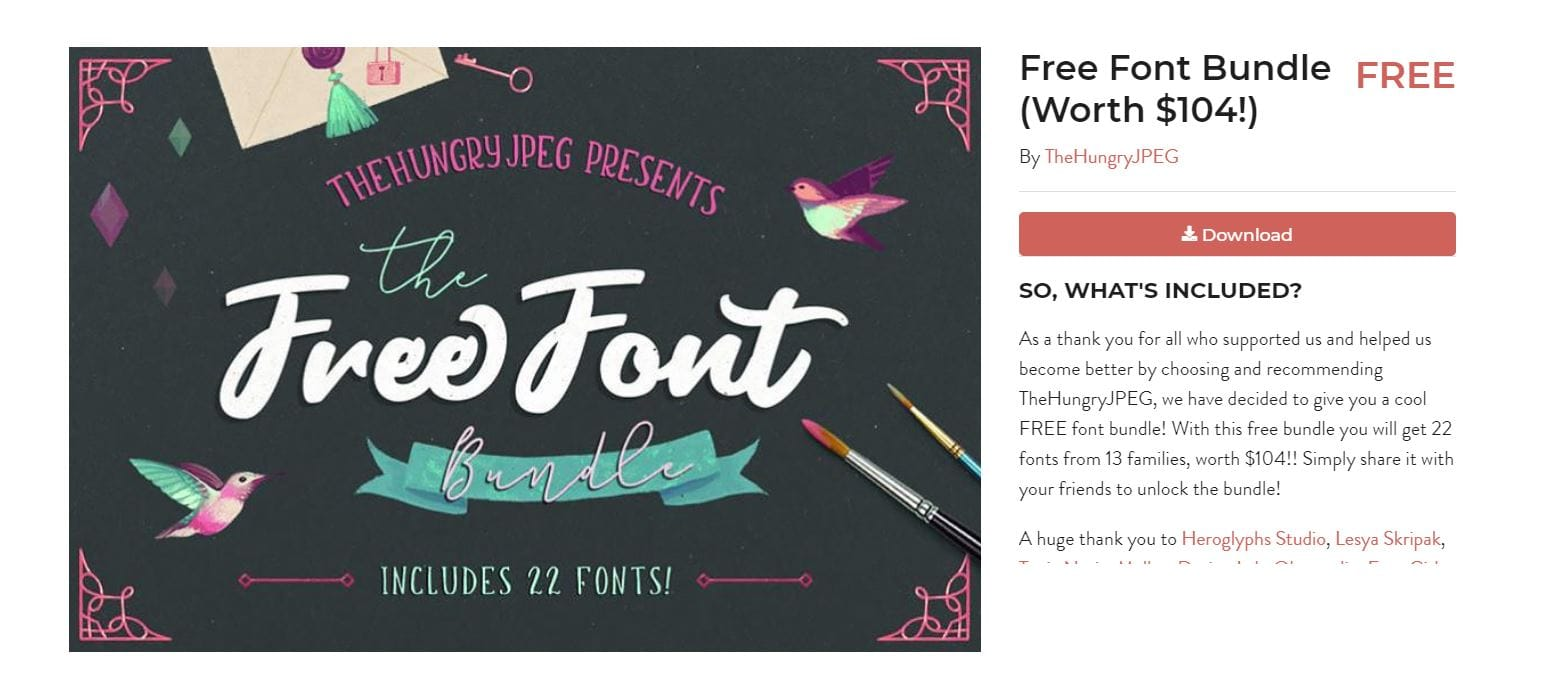 beautiful free fonts you can instantly download | The Hungry JPEG