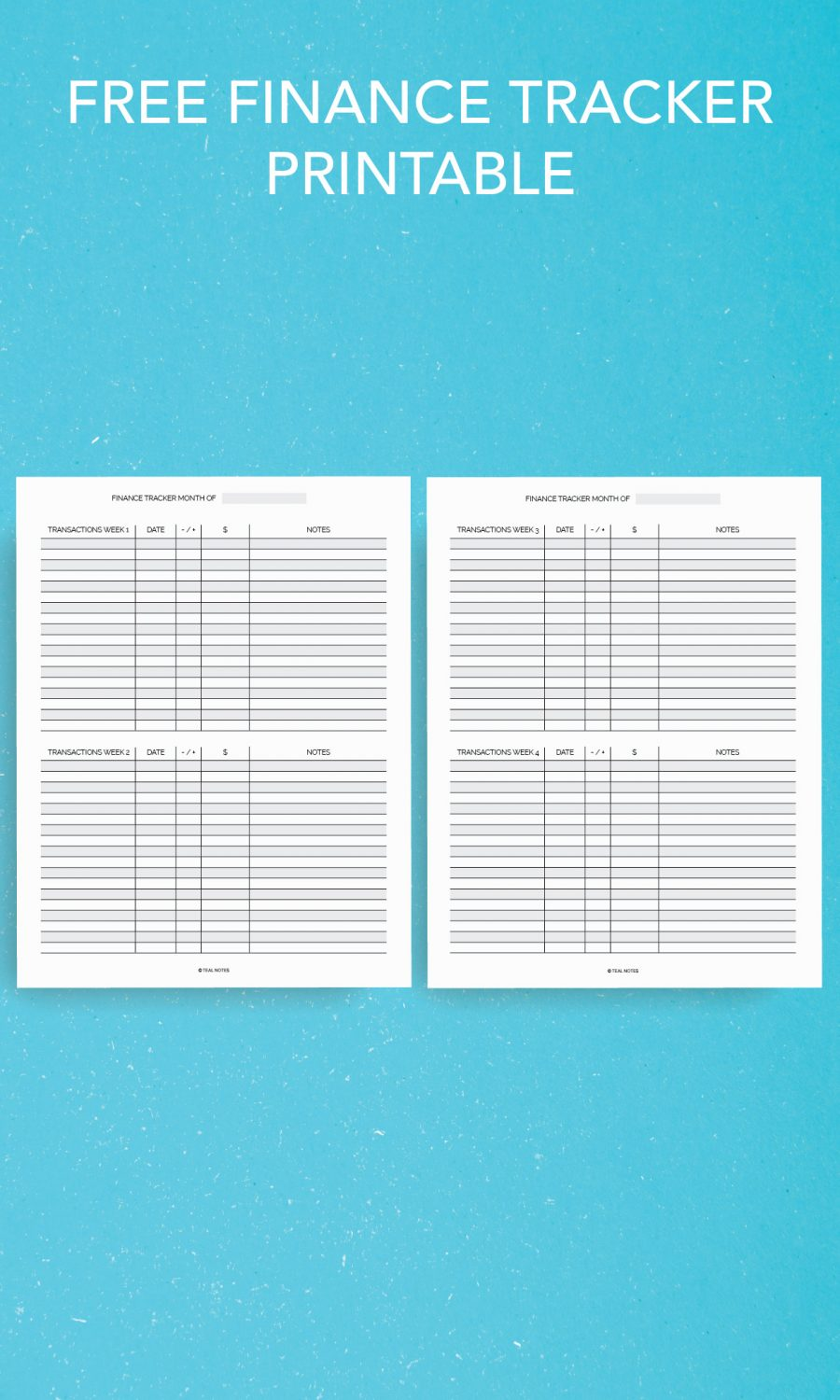 Free finance tracker printable
