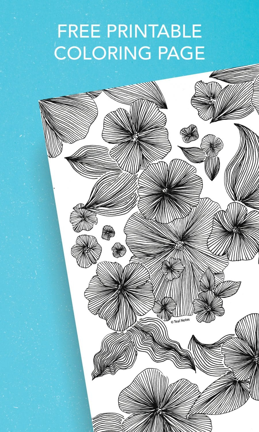 free floral adults coloring page