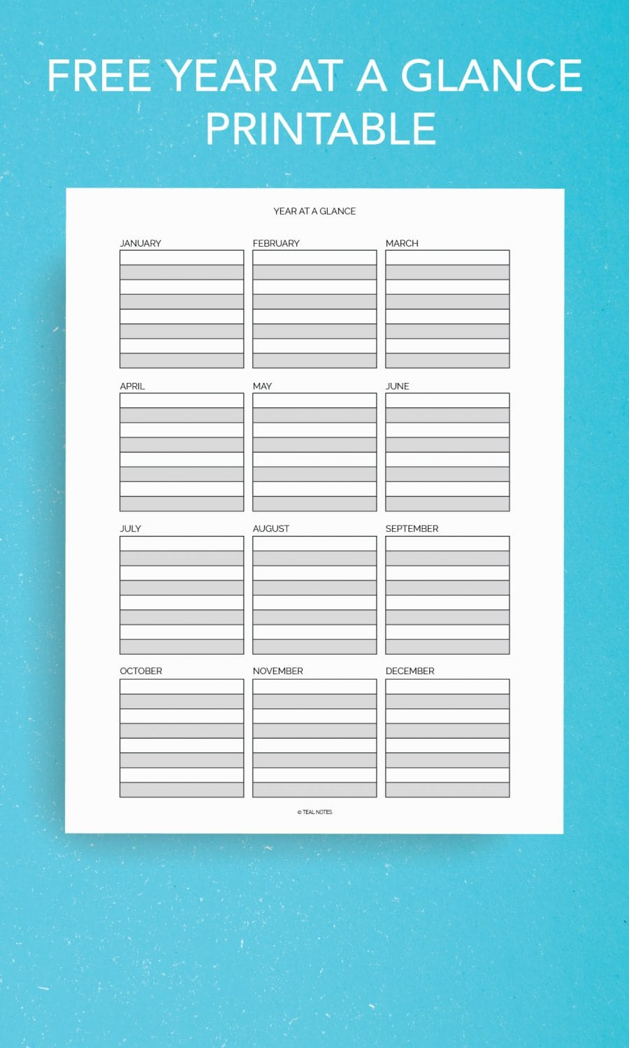 Free Year At A Glance Printable Page