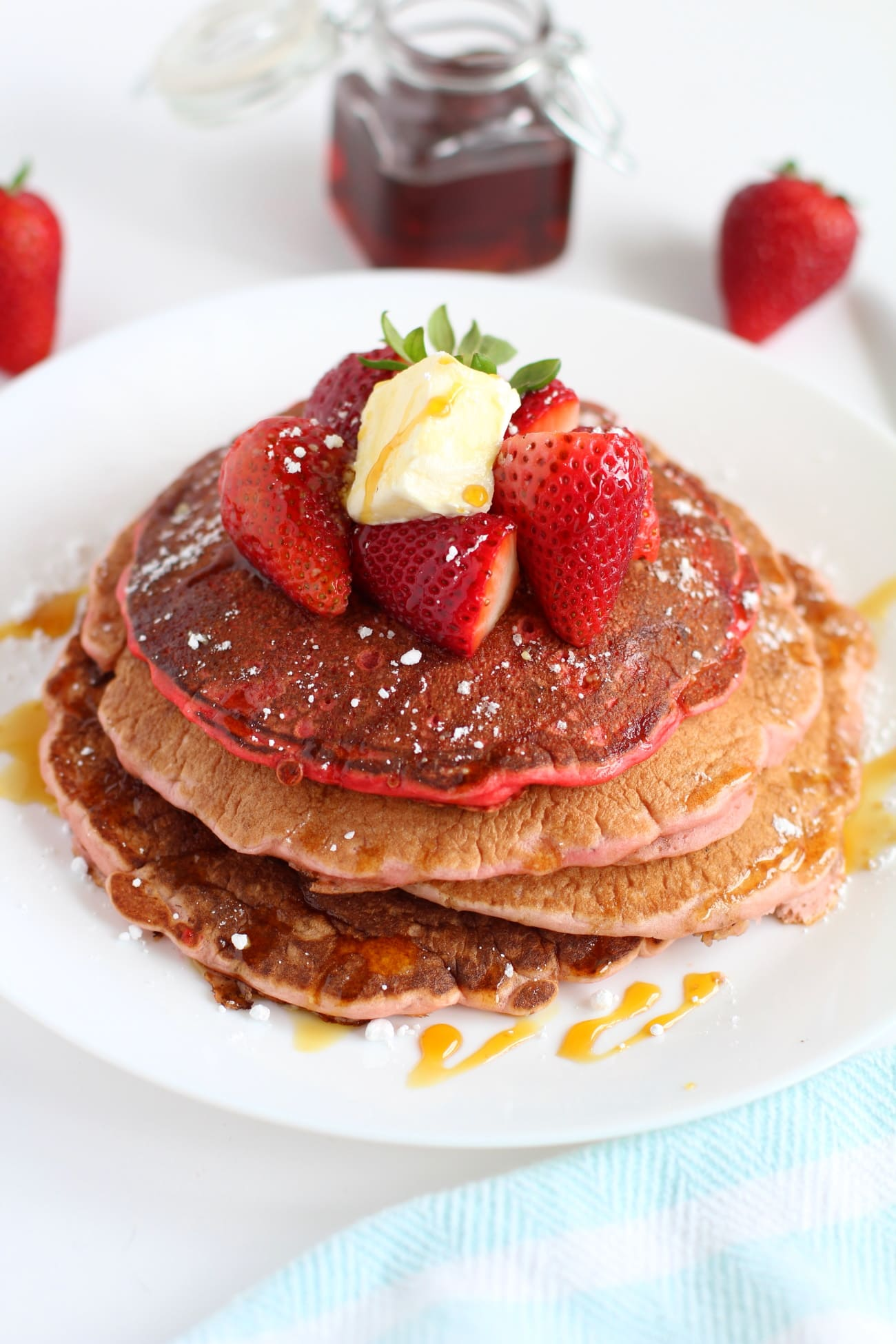 strawberry pancakes | How to make fluffy strawberry pancake recipe