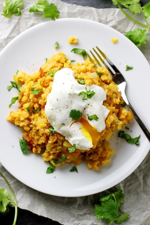 poached egg with rice and lentils