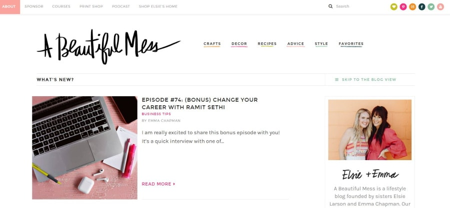 A beautiful mess - most influential female bloggers